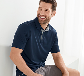 Man wearing performance polo