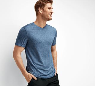 Man wearing performance v-neck