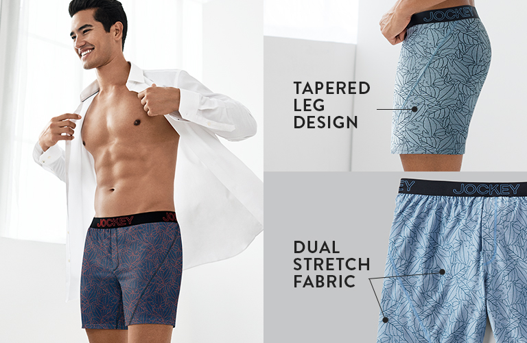 No Bunch Boxer: tapered leg design and dual stretch fabric