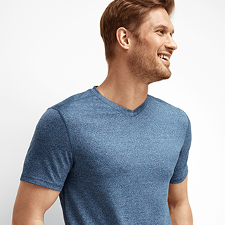 Man wearing Performance V-Neck