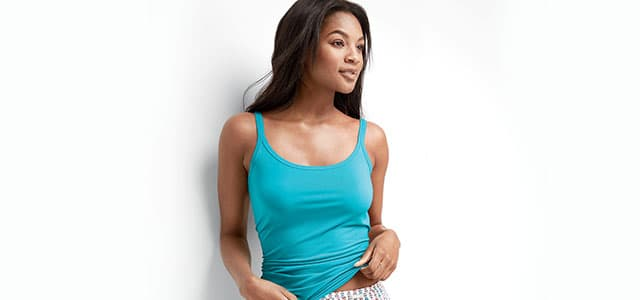 Woman wearing a supersoft cami