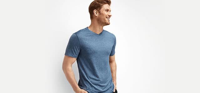 Man wearing the performance v-neck